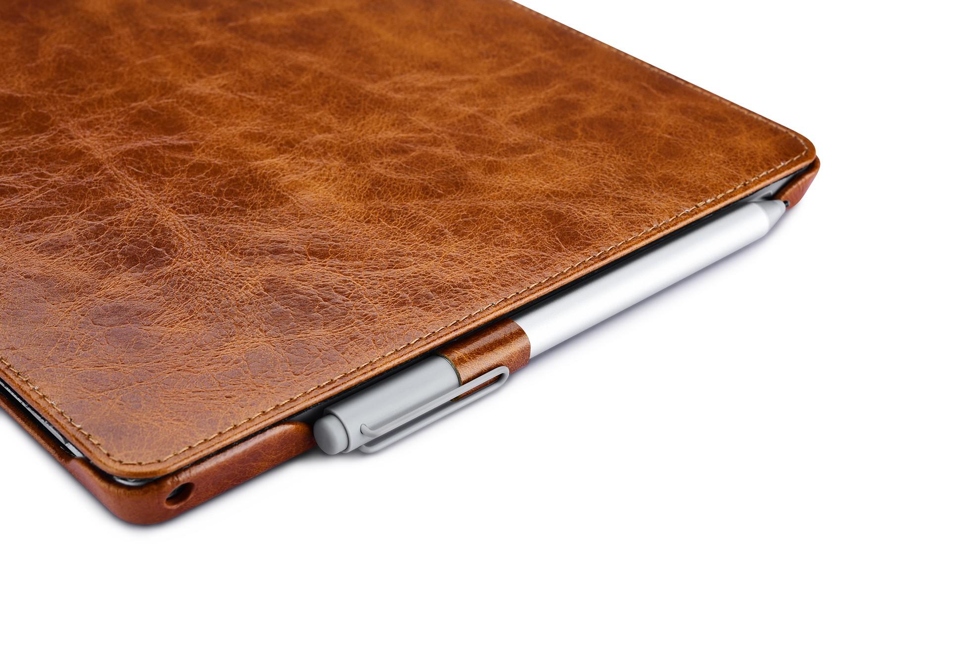 Surface Pro4 Oil Wax Vintage Genuine Leather Folio Case