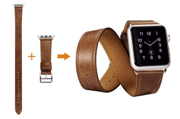 Classic Genuine Leather Quadri Watchband Series For Apple Watch