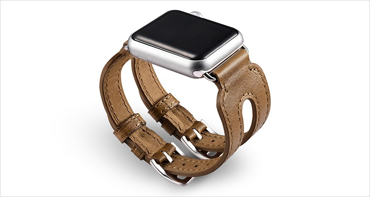 Classic Series Double Buckle Cuff Genuine Leather Apple Watchband for 38mm/42mm