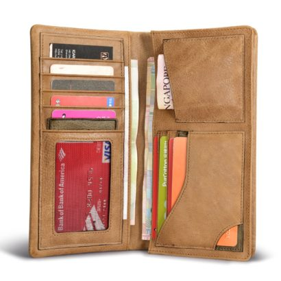 Shenzhou Real Leather Bifold Long Wallet For women
