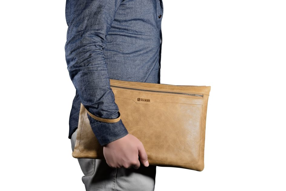 Shenzhou Real leather Latop Zipper Sleeve for Big Size for iPad Pro 12.9, Mac Book Air 13 inch/11 inch