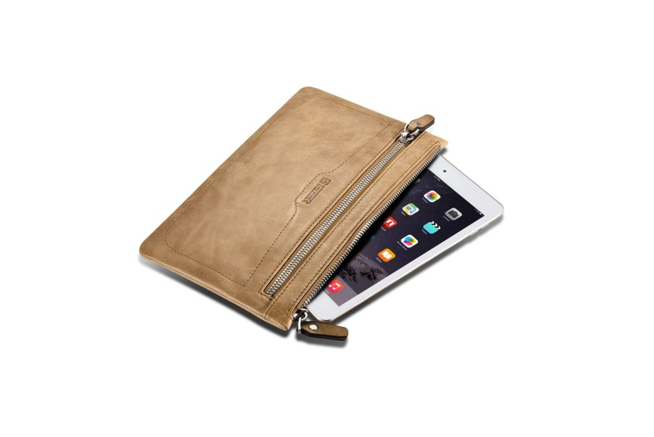Shenzhou Real leather Latop Zipper Sleeve for Small Size for iPad Mini/Mini 4