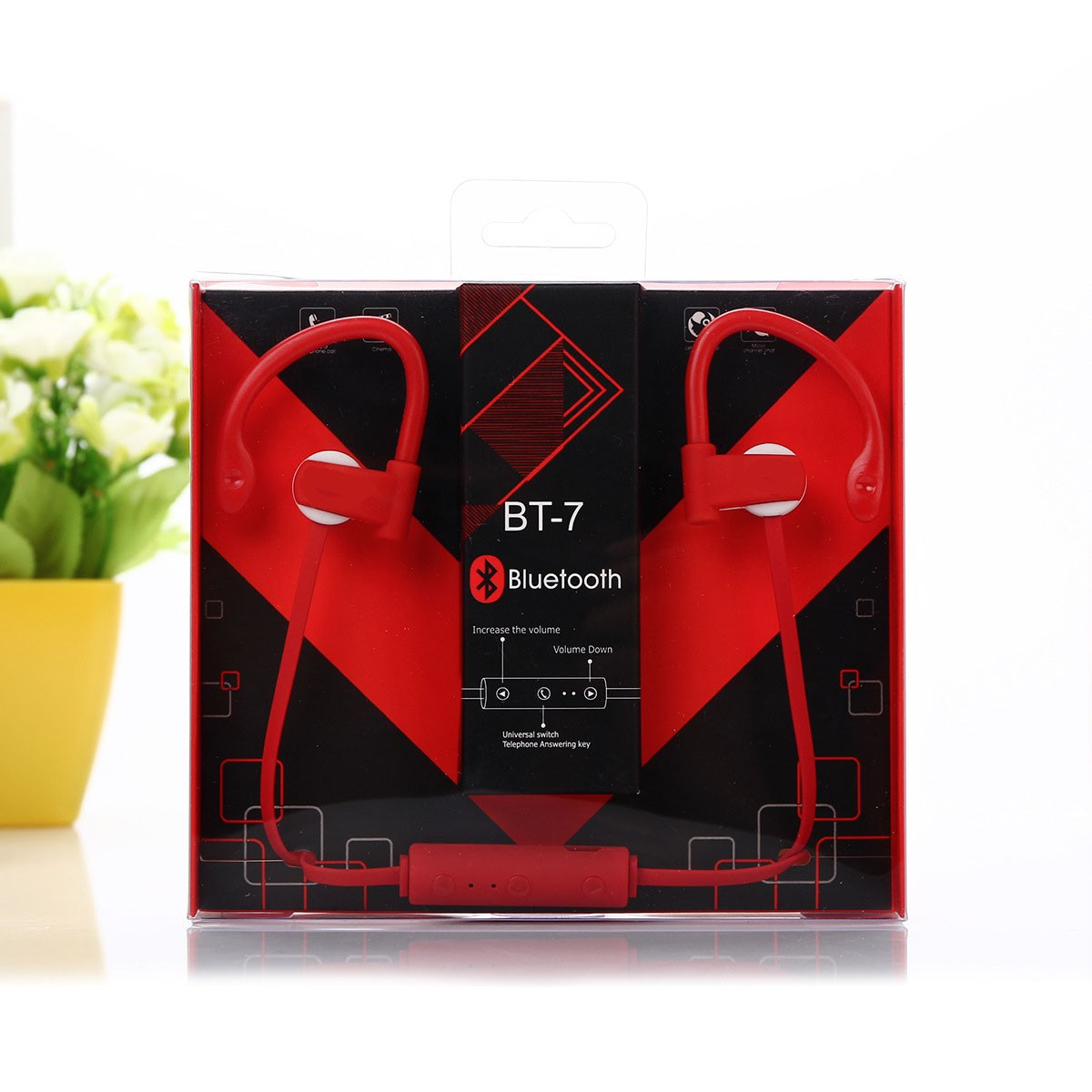 BT-S7 Earphone Bluetooth Stereo Sport, Neckband Bluetooth Headset Headphone with Mic for Cellphones