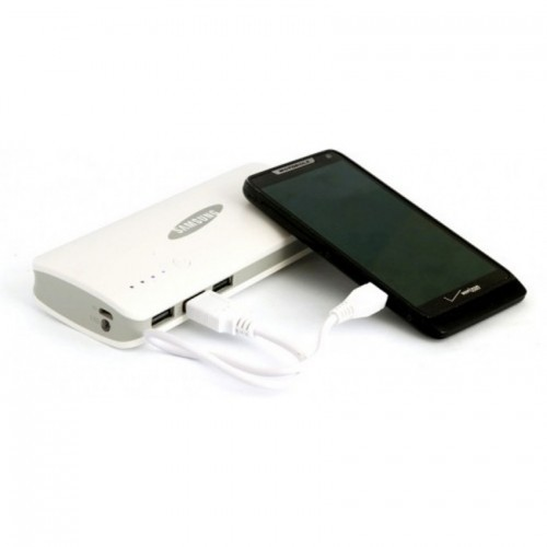 Power Bank 20000mAh Samsung 3 USB with Torch Light, white colors Envelope cover white leather