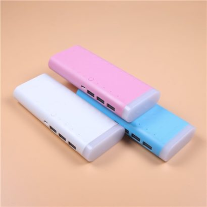 Power Bank 20000 mAh 3 USB with Torch Light, multi-colors Plastic oval cover of multiple colors