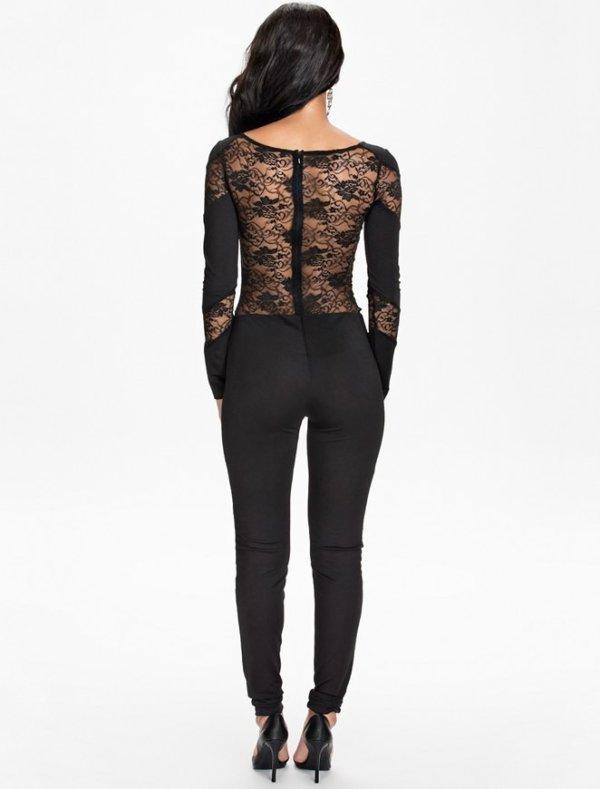 Black Lace Insert Hollow-out Fashion Jumpsuit