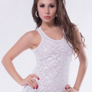 White Leather Lace Surface Sleeveless Top