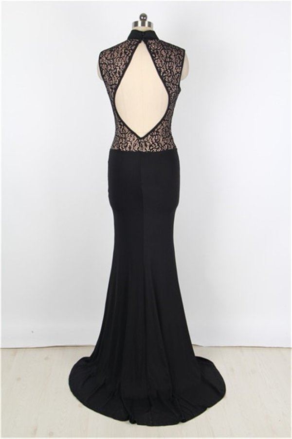 Plus Size Sexy Long Black Mermaid Prom Dress