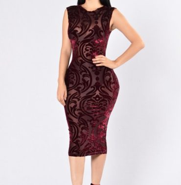 Dark red elegance printing semi perspective dress