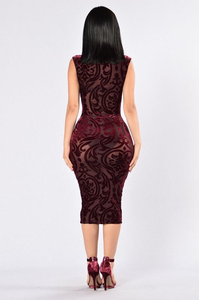 Dark red elegance printing semi perspective dress
