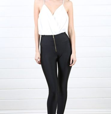 Zip high waist leggings