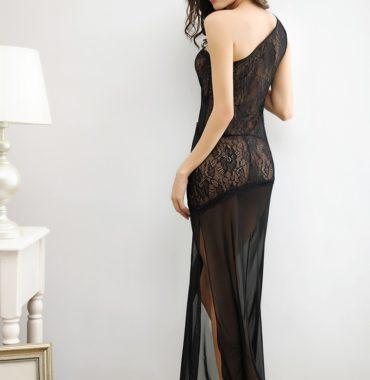 Black Lace Asymmetrical Gown