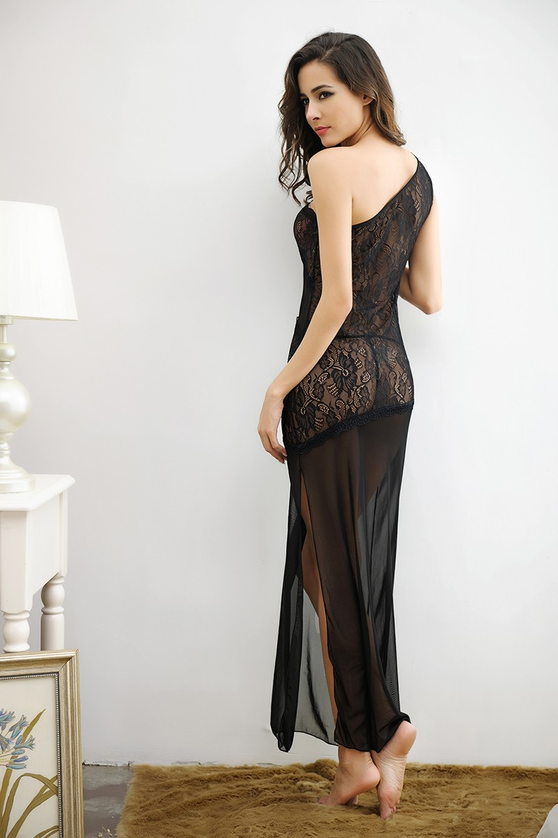 Black Lace Asymmetrical Gown