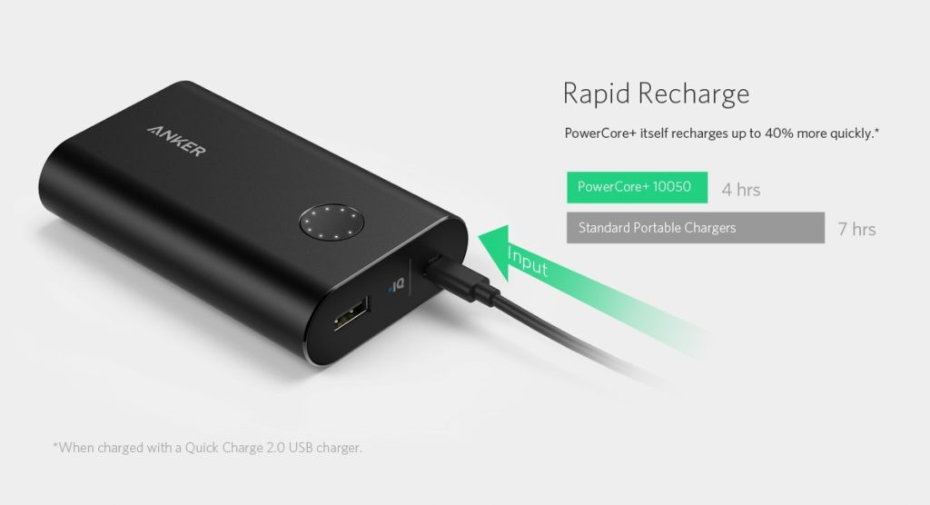 Anker PowerCore+ 10050Portable Charger with Qualcomm Quick Charge 3.0, 10050mAh Power Bank with PowerIQ Technology