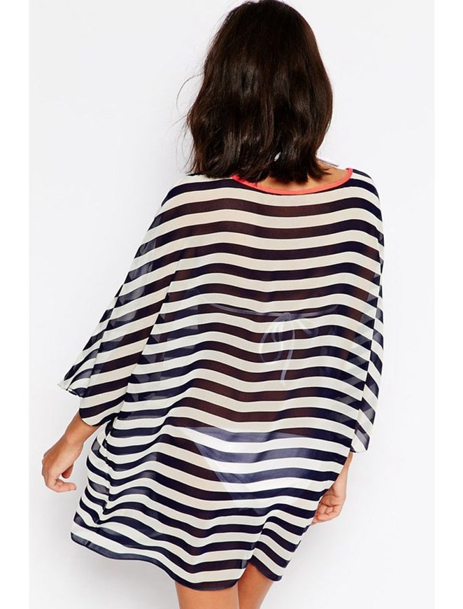 Kimono Sleeve Chiffon Striped Beachwear